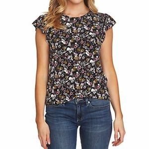 CeCe Ruffle Sleeve Floral Knit Top Sz XS